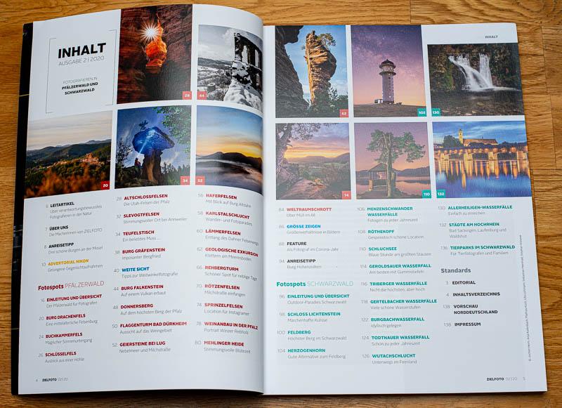 Inhaltsverzeichnis vom ZIELFOTO-Magazin Fotografieren in Pfälzerwald und Schwarzwald