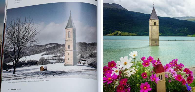 Burg Falkenstein vs. Kirche im Rechensee im ZIELFOTO-Magazin Fotografieren in Pfälzerwald und Schwarzwald